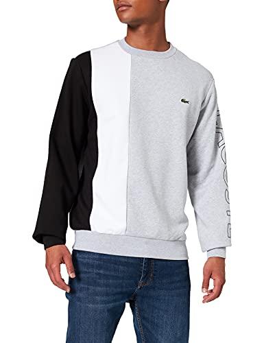 Lacoste Herren SH0169 Pullover, Argent Chine/Blanc-Noir, XL