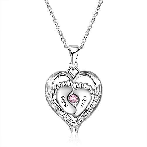 XiXi Namenskette für Mütter Silber 925 Personalisierte Halskette Damen Babyfuß Halskette Birthstone Necklace Gravur Geschenke