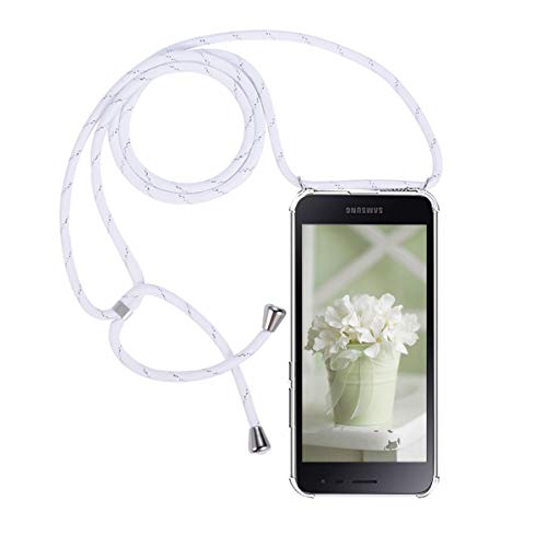 FMPCUON Funda Compatible with Samsung Galaxy J2 Core Case Transparente Silicona TPU Cover - Carcasa de movil con Cuerda para Colgar [Ultra Fina Caso + Vidrio Templado] [Garantía de por Vida]