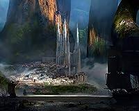 数字で描く色原稿城の山々の岩Diy油絵数字で描く現代の壁アートキャンバス絵画ユニークな子供ギフト家の装飾 カスタマイズ可能 40x50cm DIYフレーム