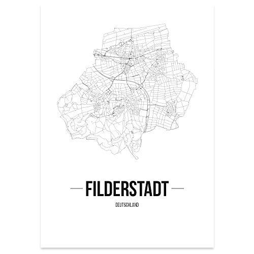 JUNIWORDS Stadtposter, Filderstadt, Wähle eine Größe, 30 x 40 cm, Poster, Schrift B, Weiß