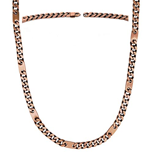 MagnetRX® Copper Magnetic Therapy Necklace - Copper Magnetic Necklace for Pain Relief and Healing - 99.9% Pure Copper Curb Chain Necklace with Magnets (18.0 Inches)
