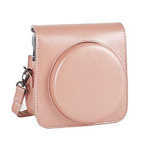 Phetium Schutztasche Kompatibel mit Instax SQ 6 Ex D Sofortbildkamera, Kameratasche mit Weichem PU Leder Material & Schulterriemen (Blush Gold)