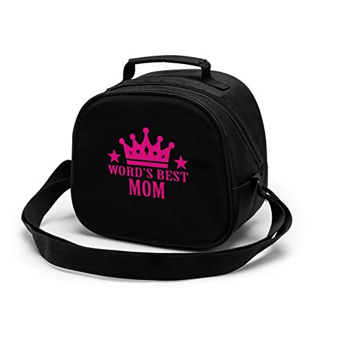 Word'S Best Mom Lunch Tote Lunch Bag Waterproof Reusable Lunch Box Portable Meal Bag Ice Pack For Kids Boys Girls