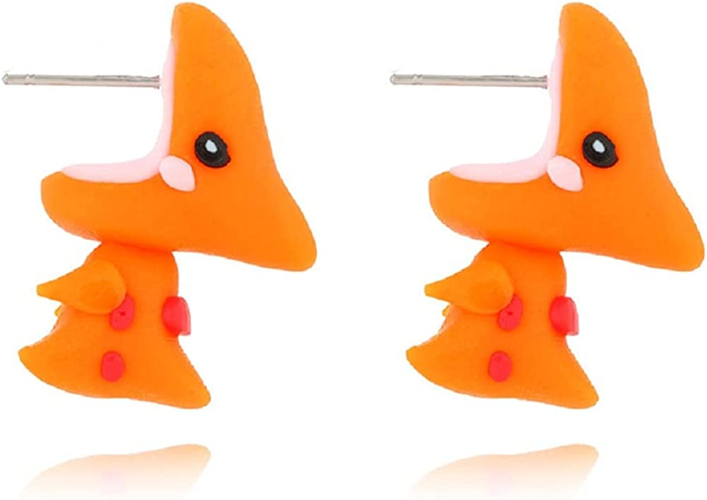 6 Pairs Cute 3D Animal Biting Ear Cartoon Stud Earrings Set Dinosaur Shark Bite Polymer Clay Funny Piercing Y2K Kawaii Handmade for Women Girls Lovely Jewelry