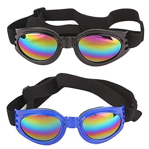 WENTS Hund Brille Sonnenbrillen 2PCS Pet Sonnenbrille, Hund, Hund, UV-Schutzbrille, wasserdicht und Winddicht, Verstellbarer Riemen, stilvoll und lustig, geeignet für jeden Hund