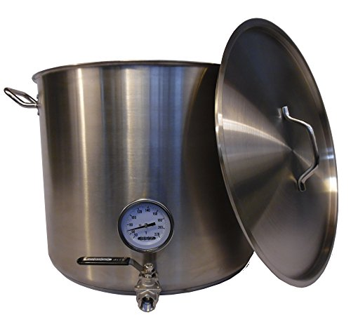 20 Gal Stainless Steel Brewing Stock Pot w/ Valve & Thermometer