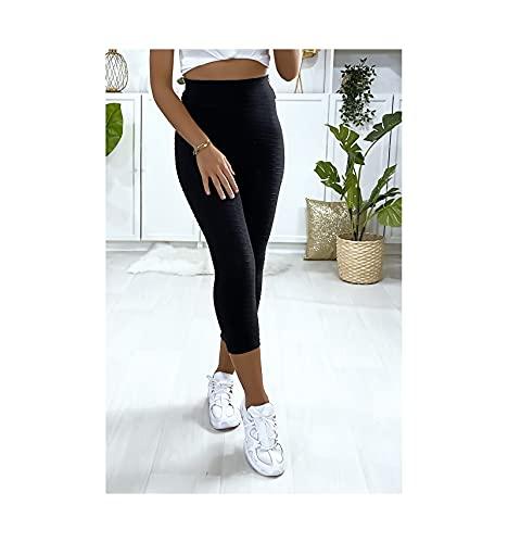 Damen Kompressions-Leggings Push Up Anti-Cellulite Slim Fit Sport Hose 3/4 Yoga Fitness Krafttraining Gym Gr. L, Schwarz