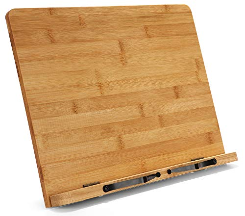 Large Bamboo Book Stand - Adjustable Foldable Book Holder Tray with Page Holder Clips - Holds Cookbooks, Receipe Books, Textbooks, Tablets, Laptops, Music Books, Documents - 15.2' x 11.2' Main Board