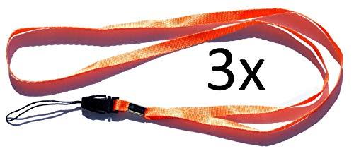 Halsband, schouderband, draagband, lus (3 stuks oranje) voor kleine mobiele telefoons, MP3-spelers, sleutels, ID-kaart, USB-sticks, fluitje, kompas