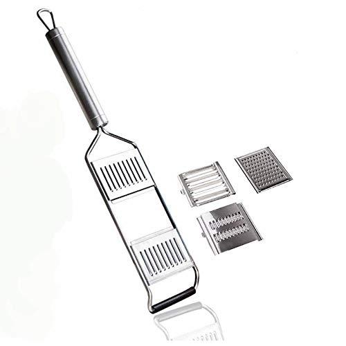 YYSY Rallador de cocina multiusos de acero inoxidable, 3 en 1, mango largo, picadora manual, ralladora ajustable, herramienta de cocina para cebollas, verduras, frutas, queso