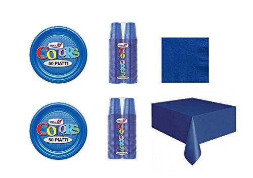 CDC - Kit n°17 Coordinato Monocolore Blu da tavola per Festa e Party ed Ogni ricorrenza - (50 Piatti, 100 Bicchieri, 50 tovaglioli,1 Tovaglia)