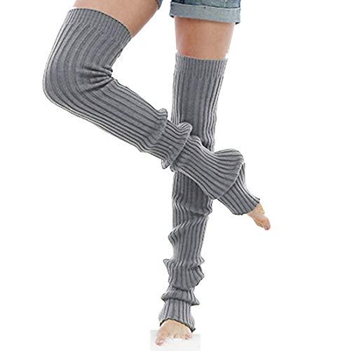 Nanxson Damen Mädchen Extra Lang Basic Leg Warmer Gestrickte Over-Knee Lange Stulpe Beinstulpe Tanzen Strumpf TTW0056 (M 85cm, grau