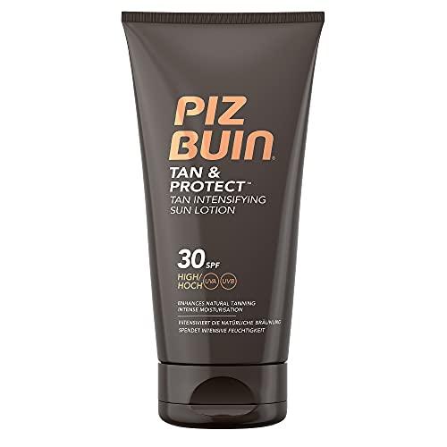 Piz Buin Tan & Protect, Sonnencreme mit Bräunungsbeschleuniger, LSF 30, wasserfest und nicht fettend, 150ml