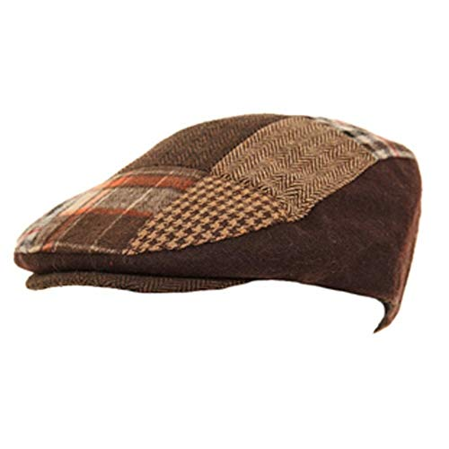 Casquette plate pour homme avec patchwork de tweed à chevrons - Beige -