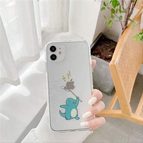 Funda de teléfono con patrón de Pareja de Dinosaurio de Dibujos Animados Lindo para iPhone XS 12 Mini 11 Pro MAX 7 8 Plus SE 2020 X XR Fundas traseras Transparentes Suaves para-iPhone7Plus PP228-2