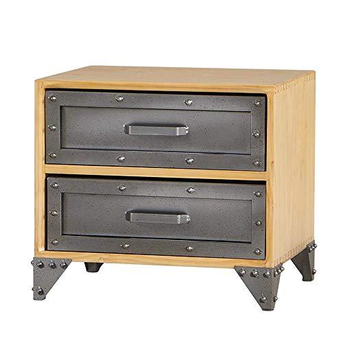Mesa auxiliar móvil, mesas Mesa auxiliar industrial de madera maciza con cajón doble, mesita de noche, base de remache, mesa de centro gris retro de madera Color: gris retro, tamaño: 19.6815.7417.71in