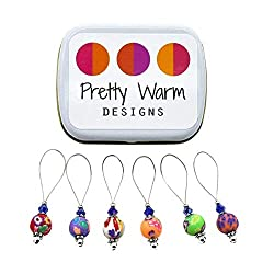 Polymer clay bead stitch markers from Pretty Warm Designs sold on Amazon.com