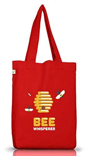 ShirtStreet Imker Jutebeutel Stoffbeutel Earth Positive mit Bee Whisperer Motiv, Größe: onesize,Red