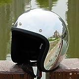 MYSdd Cascos Cascos - Casco de moto estilo vintage, color plateado y cromado