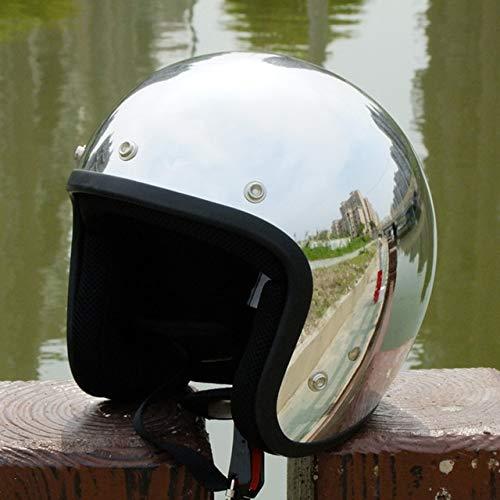MYSdd Vintage Motorradhelm Silber Chrome Mirror Malerei Cascos Capacete Jet Roller offenen Retro-Helm Silver with black-63 M