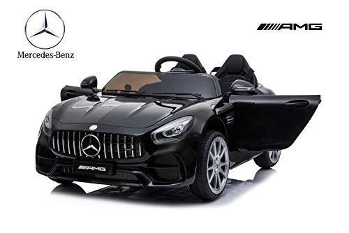 ES-TOYS niños Coche eléctrico de Dos plazas Mercedes AMG GT Negro neumáticos EVA Asiento de Cuero Radio