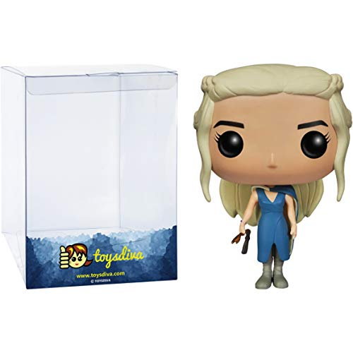 Daenerys Targaryen in Blue Outfit w/ Staff: Game of Thrones x Funko POP! Vinyl Figure & 1 POP! Compatible PET Plastic Graphical Protector Bundle [#025 / 04048 - B]