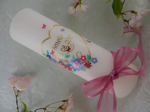 Taufkerze Herz Blumen rosa gold handverziert Taufkerzen für Mädchen 250/70 mm mit Name und Datum