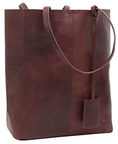 Gusti Shopper Leder - Cassidy Handtasche Ledertasche Umhängetasche Henkeltasche Laptoptasche 13L Tasche Damen groß Rot