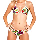 Maillot de Bain Femme Vintage 2 pièces Bikini Halter, Légumes Vegan Aquarelle