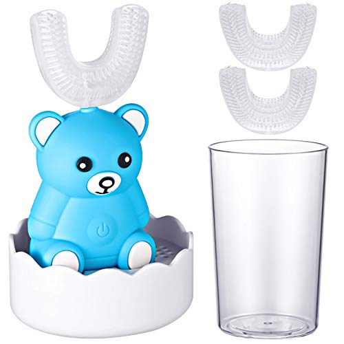 Automatic Toothbrush for Kids Age 2-6, Children Sonic Toothbrush with 3 Pieces U-Shaped Toothbrush Head Children's Electric Toothbrush for Toddlers Kids Whitening for Sensitive Teeth, Blue Bear Style
