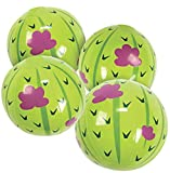 Fun Express 12 Pack - Inflatable Cactus Beach Balls - Pool or Fiesta Party Theme Mini Beach Balls - 5 Inch