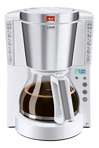 Melitta Look Timer 1011-07, Filterkaffeemaschine mit Glaskanne und Timer-Funktion, AromaSelector, Weiß
