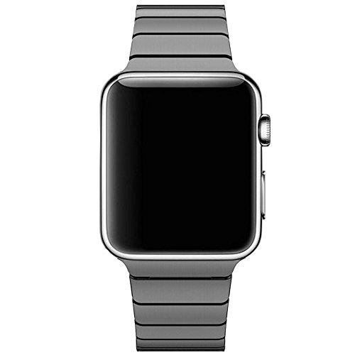 CoverKingz Edelstahl Armband kompatibel mit Apple Watch Series 6/SE/5/4/3/2/1 Band, Gliederarmband 42mm/44mm, Metall Band Schwarz