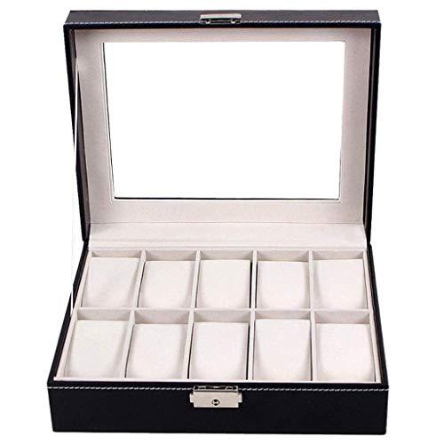 ROSG Joyero - Caja de Almacenamiento de 10 Relojes Caja de exhibición de joyería de Doble cajón colección de Pulseras Caja de Reloj Anillo joyero