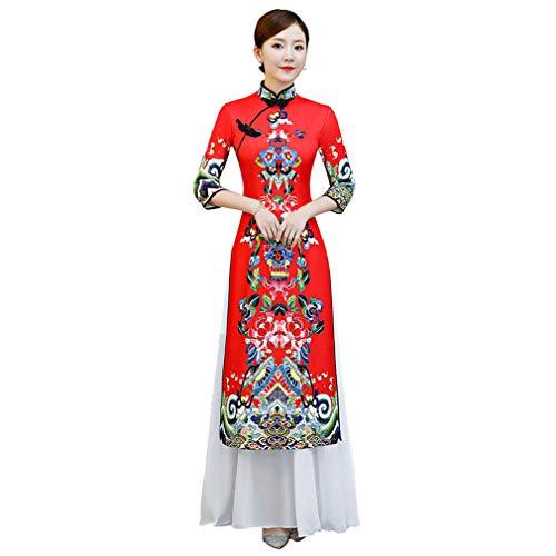YAN Cheongsam de Las Mujeres Vestido Chino Robe Rendimiento Vestido de poliéster 2019 Nueva Fiesta de Bodas Qipao y Noche,Red,M