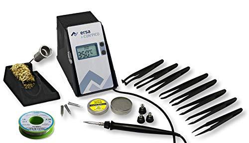 ERSA i-CON PICO digital regelbare Lötstation 80 Watt mit umfangreichen Zubehör inkl. ESD Carbon Pinzetten SET uvm. Lötkolben i-Tool Pico | Löttemperatur regelbar 150 bis 450 °C | Auto-Standby