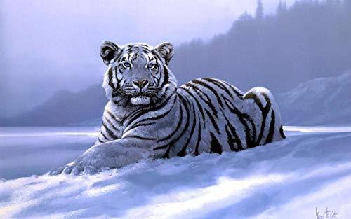 RUIKESI DIY Diamond Painting, Tiger Diamond Painting Animal Series Sticker Diamond Painting Living Room-Round Diamond 4030