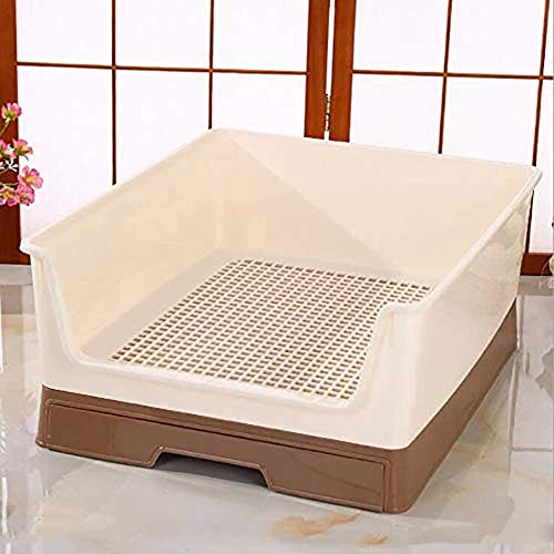 SoBright Dog Toilet Scalloped Fenced Dog Litter Box Lattice Pet Potty Training Pad for for Dogs Potty, Tasteless,Corrosion Resistant Easy Care, Brown