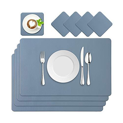 BaoWnylz Juego de 4 Manteles Individuales de Piel Sintética, Lavables e Impermeables, 45 x 30 cm y Posavasos de Piel, Aptos para Mesas de Cocina, Restaurantes y Hoteles(Azul)
