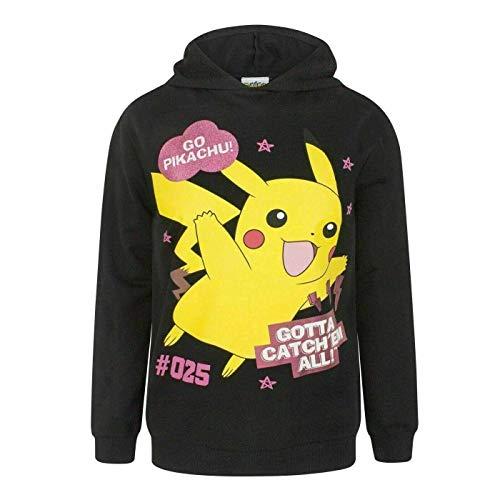 Pokémon Gotta Catch 'Em All! Offizielles Kapuzenpullover Oben in Schwarz für Mädchen, 100% Baumwolle (13-14 Jahre (158-164cm))