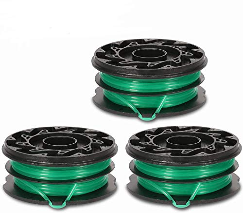 Eyoloty String Trimmer Spools Replacement for Black Decker GH1100 GH1000 GH2000 Weed Eater DF-080 Replacement Spool Line Refills Dual Line Edger Parts 30ft 0.080' Auto-Feed Spool (3 Pack spools)