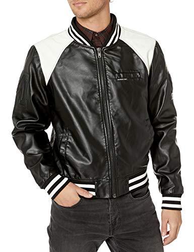 Members Only Men's Vegan Leather Bomber, Black, XXL