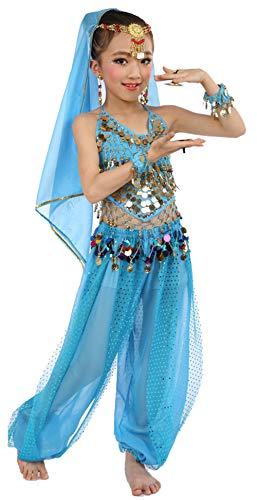 Girls Belly Dance Costume Set,Kids Halloween Costume Top Pants Jewelry Accessory Blue