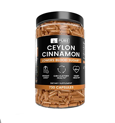 Ceylon Cinnamon, 5 Month Supply, 730 Capsules, No Fillers, Made in The USA, Lab-Tested, Gluten-Free, Non-GMO, 1925 mg of Antioxidant-Rich & Potent Ceylon Cinnamon with No Additives
