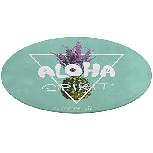 Felpudo Aloha Spirit Verano Sensación Piña redonda suelo suelo exterior interior antideslizante coral fieltro felpudo para puerta cocina balcón pasillo decoración blanco talla única