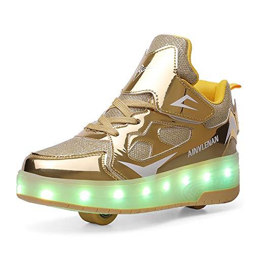 RDJSHOP Unisex Niños Zapatos de Patinaje sobre Ruedas LED Zapatilla de Skate de Gimnasia Double Wheels Zapatos Intermitentes de Carga USB para Niños y Niñas,Gold-7 UK