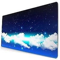マウスパッド 大型 ゲーミング キーボードパッド 紺色 夜空 星空 雲 グラデーション ゴム底 光学マウス ゲーム 特大 40cm×75cm 滑り止め エレコム 耐久性が良い おしゃれ かわいい 防水 サイバーカフェ オフィス最適 適度な表面摩擦
