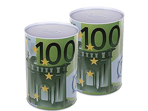 2X XXXL Jumbo Spardose mit 100 Motiv 22 x 15 cm - Riesige Sparbüchse für Münzen & Scheine - Ohne Entnahmemöglichkeit - Aus Blech