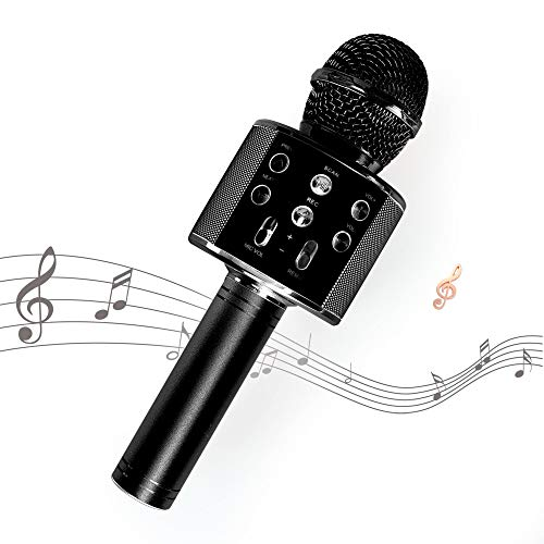 Kissarex Wireless Microphone Karaoke Bluetooth : Black Pop Handheld Real Tosing Singing Portable Speaker Voice Little Fun Changer Solo Car Girls Mic
